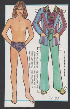 Rod Stewart Scarce 1975 Vintage Paper Doll issued in Sweden | eBay