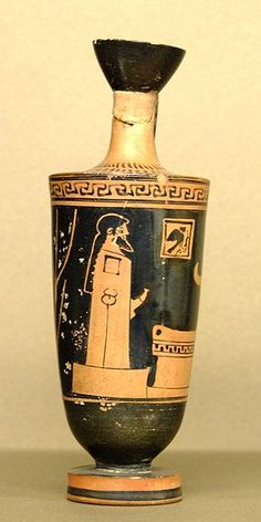 A red-figure vase from the early fifth century B.C. showing a herm.