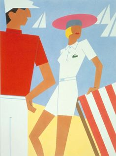 ef3b03d47df6 Vintage poster for the Lacoste 55th anniversary (1933-1988) Art Deco  Posters