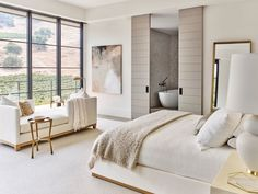 neutral tone modern bedroom design // white and cream bedroom decor // spacious master bedroom bedrooms Contemporary Modern Master Bedroom, Modern Bedroom Design, Master Bedroom Design, Home Bedroom, Master Bedroom Plans, Contemporary Bedroom Decor, Bedroom Interiors, Master Bedrooms, Master Suite