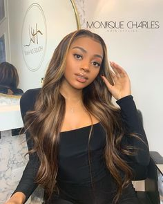 Best Wigs Fashion Trendsheat Resistant Hair Daily Makeup Lace Front Wigs For Black Women Honey Brown Hair, Brown Hair With Highlights, Hair Color Highlights, Light Brown Hair, Hair Colour, Front Hair Styles, Curly Hair Styles, Hair Front, Toner Für Blondes Haar