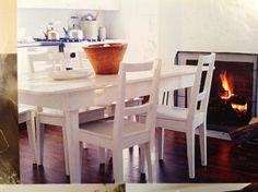 White painted table and chairs