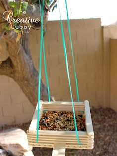 Popsicle Stick Bird Feeder - The Creative Cubby