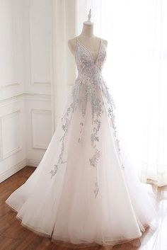 White V Neck Tulle Lace Prom Dresses,Backless Long Evening Dress,White Formal Dress · Leno Dress · Online Store Powered by Storenvy Pretty Prom Dresses, Backless Prom Dresses, A Line Prom Dresses, Tulle Prom Dress, Grad Dresses, Lace Evening Dresses, Cute Dresses, Beautiful Dresses, Lace Dress