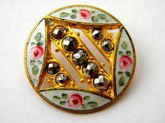 Antique Enamel Metal Brass Victorian French Cloisonne/Champleve Flower Button