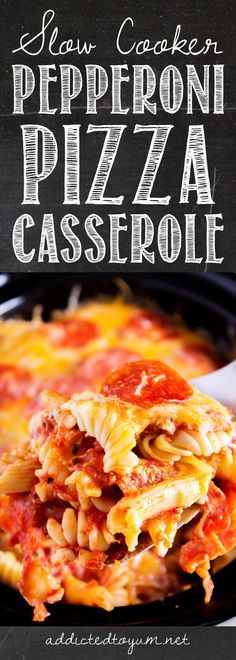 Slow Cooker Pepperoni Pizza Casserole - I can't even believe how easy this is… Crockpot Recipes For Kids, Easy Meals For Kids, Easy Family Meals, Easy Food To Make, Easy Healthy Recipes, Quick Easy Meals, Slow Cooker Recipes, Kids Meals, Crockpot Meals