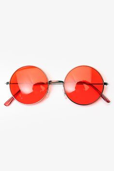 'Mary Kate' Unisex Round Metal Sunglasses - Red - 5070-6