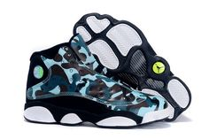 """uk availability db757 14c02 Buy Girls Air Jordan 13 GS """"Army Camo"""" Custom Black White Teal For Sale  2574 from Reliable Girls Air Jordan 13 GS """"Army Camo"""" Custom Black White  Teal For ..."""