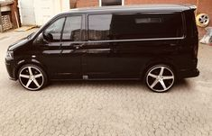 "#VW #T5 #styling #black #22"" #wheels #Alloys #Transporter #Ideas #Custom #VAG #MrWest"