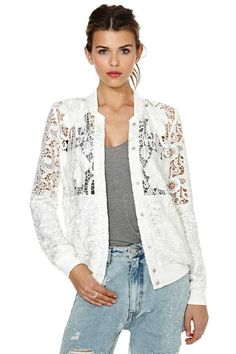 Sweeten up your summer in this perfectly lighweight jacket! It has a  crochet lace shell e2ba7247f