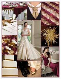 Burgundy and gold themed wedding ideas. #Redskins