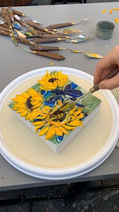 Original Fine Palette Knife Art Oil Paintings by Lisa Elley. Sunflower Drawing, Sunflower Art, Drawing Flowers, Sunflower Paintings, Simple Oil Painting, Texture Painting, Acrylic Painting Techniques, Drawing Techniques, Knife Art