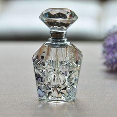Vintage Crystal Perfume Bottle Refillable Glass Art Carved Diamond Stopper Gift