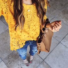 Yellow Lace Top + Distressed Jeans