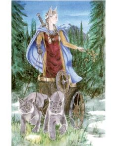 Freya - Goddess of  love, beauty, fertility, gold, war, and death.  She rides a chariot drawn by two cats.  She is a Vanir.  She rules over the afterlife and receives half of those that die in battle (the other half go to Valhalla.      Deep Inside My Broom Closet: Freya - Goddess of Love and War