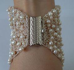 Wide Cuff Bracelet Wedding Bridal Bracelet Wire by LavishGemstone