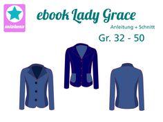 Lady Grace - (m)ein Blazer! Blazer Pattern, Jacket Pattern, Coat Patterns, Sewing Patterns Free, Diy Clothing, Sewing Clothes, Lady Grace, Blazer Jersey, Adobe Reader