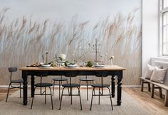 Wall Mural Swaying Reed image 1 by Rebel Walls Home Room Design, Room Interior Design, Diy Interior, Room Wallpaper, Wallpaper Murals, Wallpaper Online, Creative Walls, Outdoor Furniture Sets, Outdoor Decor