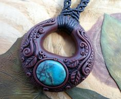 Chrysocolla clay macrame necklace polymer clay by SelinofosArt