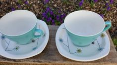 Set of Two Cups and Saucer by Midwinter Stylecraft 'FLOWERMIST' Pattern Turquoise Cups/Mid Century Modern Ceramic Rare Pattern by RetroandRitzy on Etsy Ceramic Cups, Pastel Blue, Mid Century Design, Vintage Kitchen, Jessie, Cup And Saucer, Tea Cups, My Etsy Shop, Pottery