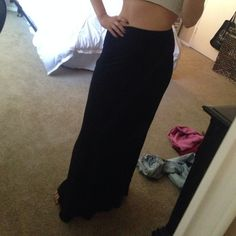 Basic black maxi skirt This basic black maxi is perfect for a summer day with flip flips! You can dress it up or down Tilly's Skirts Maxi