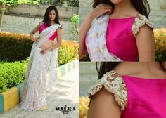 Pink raw silk blouse and off white net saree. Saree Blouse Patterns, Designer Blouse Patterns, Saree Blouse Designs, Blouse Styles, Trendy Sarees, Fancy Sarees, Indian Attire, Indian Outfits, India Fashion