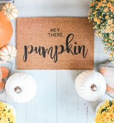 Want to design your own doormat? Steph shows how to make stencils with a Cricut Explore Air and creates a custom Hey There Pumpkin doormat in today's post! Halloween Costumes For Teens, Halloween Crafts, Halloween Decorations, Halloween Doormat, Halloween Wreaths, Halloween Table, Fall Decorations, Halloween Candy, Easy Halloween