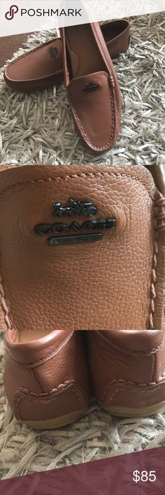 ❌sold❌Coach leather shoes Sz 8.5 Smooth leather upper. Raised seam stitching. Rounded toe. COACH® emblem on upper. Slip on design. Tonal stitching throughout. Leather lining and insole. Rubber sole. Brand new missing box Coach Shoes Moccasins