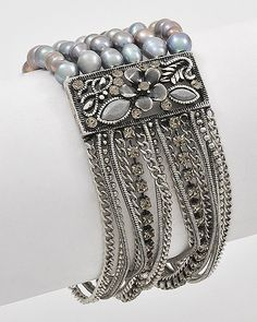 Multi-Row Stretch Bracelet  Burnished Silver Tone, Pearl...(I have one of these bracelets in pink, and one in purple!  These are actually fresh saltwater pearls...Love 'em)!!