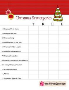 Free Printable Scattergories inspired Christmas Game : Scattergories inspired Christmas Game Worksheet using word Tree (Office Christmas Games) Xmas Games, Holiday Games, Christmas Party Games, Xmas Party, Christmas Activities, Christmas Printables, Christmas Traditions, Holiday Fun, Christmas Crafts