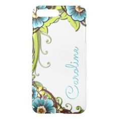 Custom Summer Lime Green Turquoise Floral Pattern iPhone 8 Plus/7 Plus Case - vintage gifts retro ideas cyo