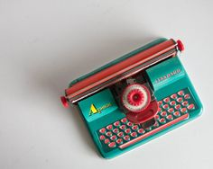 Vintage Toy Typewriter, West Germany Tin Toy, Bright Kids Room Decor, Writing Letters, Teal Green and Red, Apex Standard, West Germany