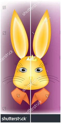 #vector #illustration #Rabbit #head, surprised expression, with colorful stiff collar, on shiny purple background - useful for #easter #holiday #cards #kids #book #cartoon