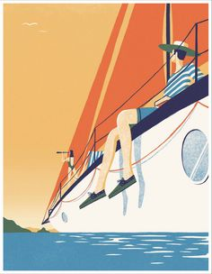 Sailing the seas in the new Timberland boat shoes, with my customised Mediterranean-inspired colours. With thanks to and Collater. Boat Illustration, Digital Illustration, Graphic Design Posters, Graphic Design Illustration, Graphic Art, Adara Sanchez, Sailboat Art, Monochrom, Travel Posters