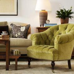 Chair upholstered in Sommeso cotton velvet - www.suzannetuckerhome.com