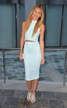 Annalynne McCord's Missguided Baby Blue High Neck Ribbed Crop Top
