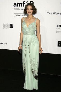 Marion Cotillard in a green Christian Dior dress at the amFAR Cinema Against AIDS gala