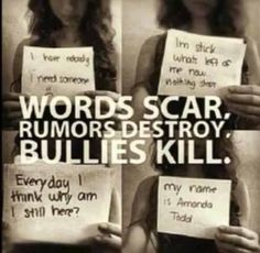 Stop Bullying!!! Before it kills everyone fuck the quote that says words can't hurt because they can