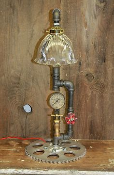 Vintage Industrial Machine Age Steampunk Lamp with Gear Base | eBay