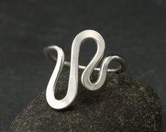 Sterling Silver Ring -Silver Ring- Modern Silver Wave Ring- Sterling Silver Jewelry Handmade Ring. $46.00, via Etsy.