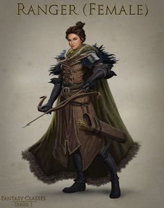 female probably human ranger with fur cloak, bow and arrow travelling gear character portrait for DnD / Pathfinder / fantasy gaming Dungeons And Dragons Characters, Dnd Characters, Fantasy Characters, Female Characters, Archer Characters, Fantasy Character Design, Character Creation, Character Concept, Character Art