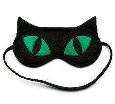 Black Cat Sleep Mask with Emerald Green Eyes - cat ear - big eyes - animal mask - kitty