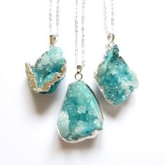 Blue Druzy Crystal Necklace