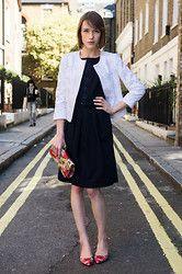 black dress + white blazer + red heels