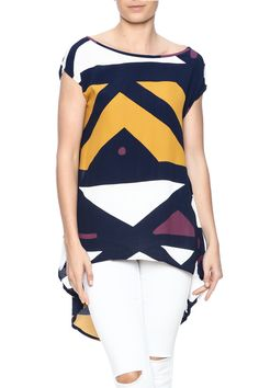 Geometric print high-low top withround neckand v-back.   Geometric Flowy Top by Bel Kazan. Clothing - Tops - Short Sleeve Park Slope, Brooklyn, New York City Brooklyn, New York City
