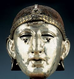 Roman silver helmet with facemask,from  Homs (ancient Edessa) 1st cent. AD National Museum of Syria, Damascus
