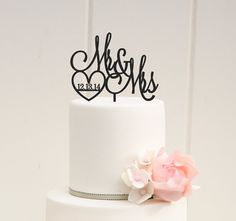 Custom Wedding Cake Topper Mr and Mrs Cake by ThePinkOwlDesigns