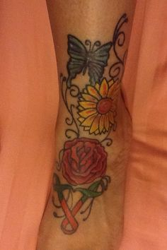 Upside Down Triangle Meaning >> Breast cancer ribbon and sunflowers | Tattoos | Pinterest | Tattoo, Tatting and Piercings