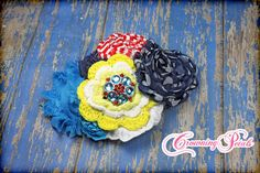 Red Turquoise Yellow Navy Blue Headband Hair by CrowningPetals, $17.00