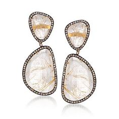 Quartz and 3.30 ct. t.w. Diamond Earrings In Two-Tone.